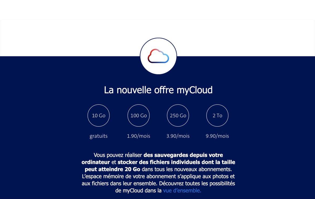 Les tarifs 2021 de Swisscom myCloud.