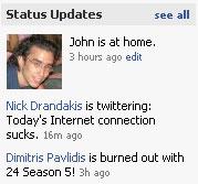 facebook user status