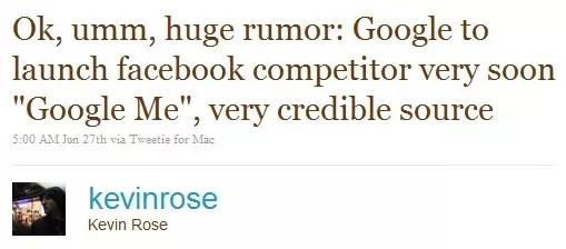 Το tweet του Kevin Rose για το social network της Google