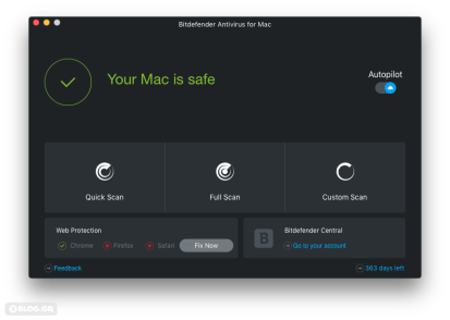 Bitdefender for Mac main menu