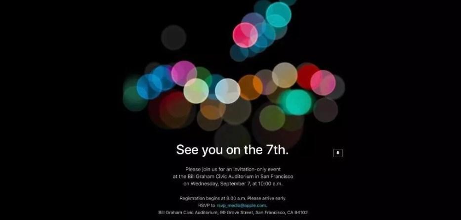 Apple iPhone 7 event invitation