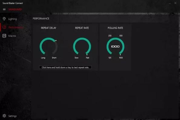 Creative Sound BlasterX Vanguard K08 Sound Blaster Connect app performance