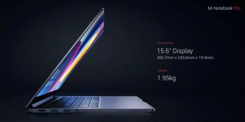 Xiaomi Mi Notebook Pro dimensions
