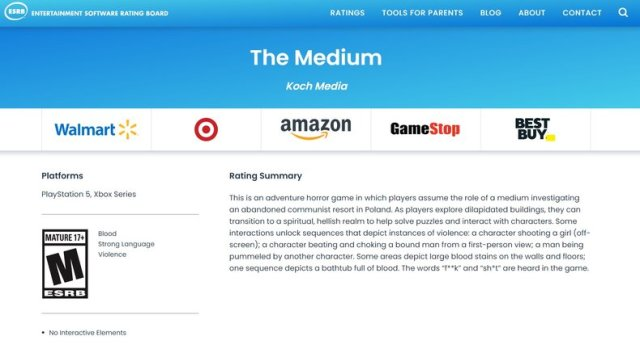 The Medium : l'exclu Xbox Series X|S listée sur PS5 par l'ESRB | Xbox One -  Xboxygen