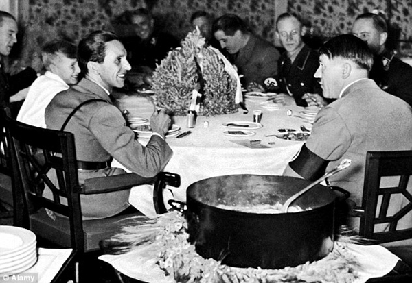 Hitler the vegetarian with German officers in 1945