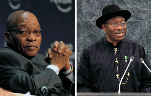 South Africa's President Jacob Zuma and Nigeria's President Goodluck Jonathan