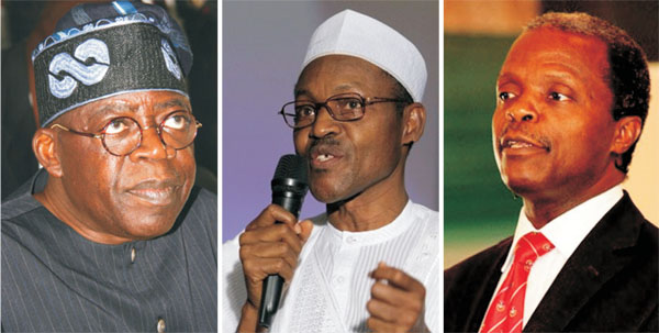 APC chieftain Bola Tinubu, General Muhammadu Buhari and Professor Yemi Osinbajo