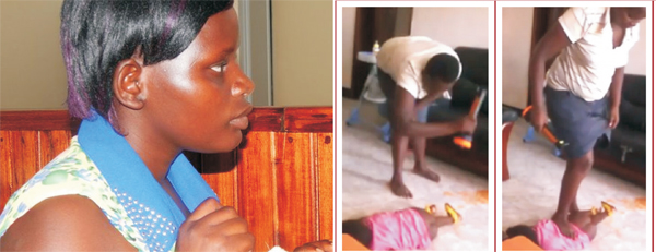 Nanny From Hell: Jolly Tumuhiirwe in Court and (right) stamping on Baby  Arnella