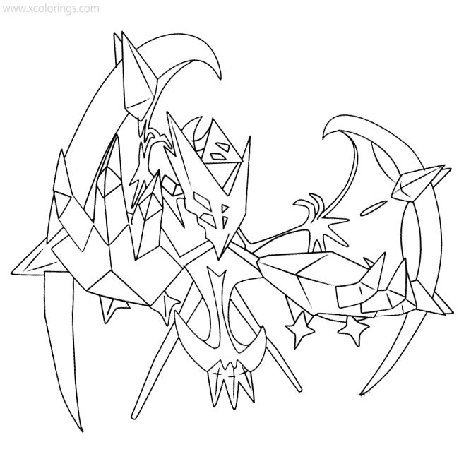 Pokemon Necrozma Dawn Wings Coloring Pages Xcolorings Com