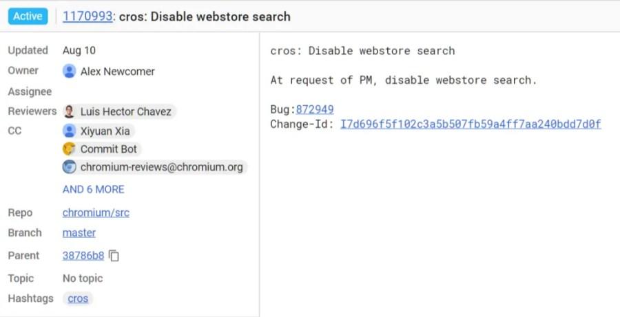 Chrome OS Web Store search