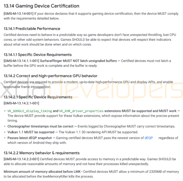 Android Game Device Certification requirements