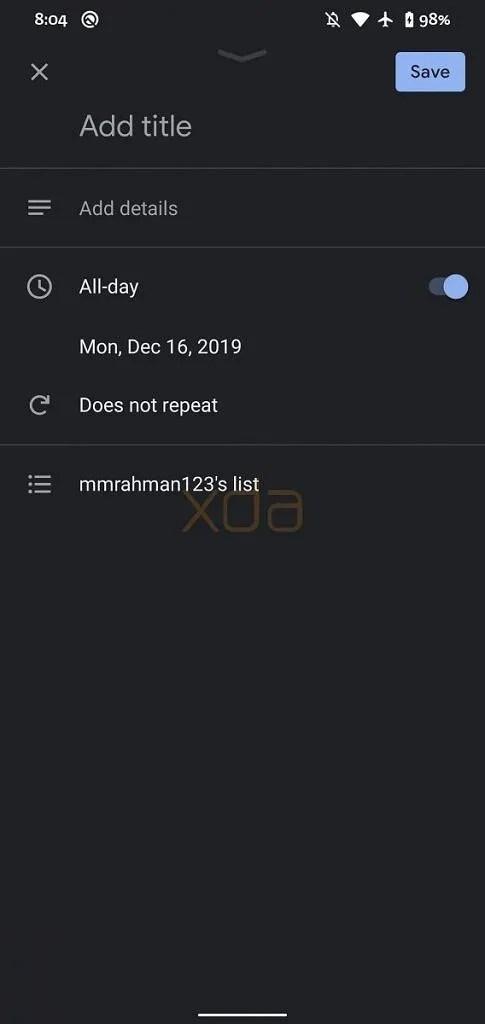 Google Calendar tasks