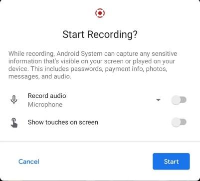 Android 11 ekran kaydedici