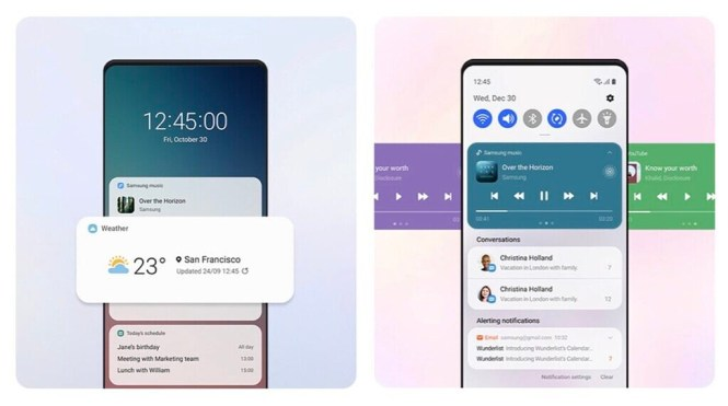 Samsung One UI 3.0 lock screen and notifications