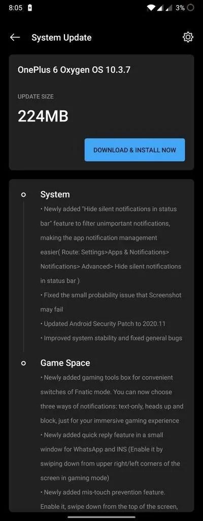 OnePlus 6 OxygenOS 10.3.7 OTA