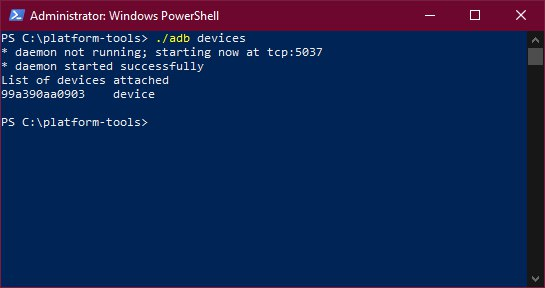 Windows PowerShell adb devices