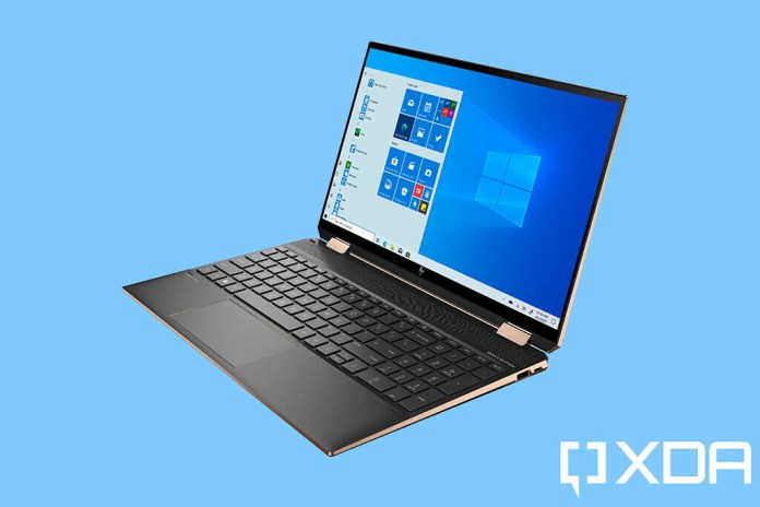 HP Spectre x360 15 angled view on blue background