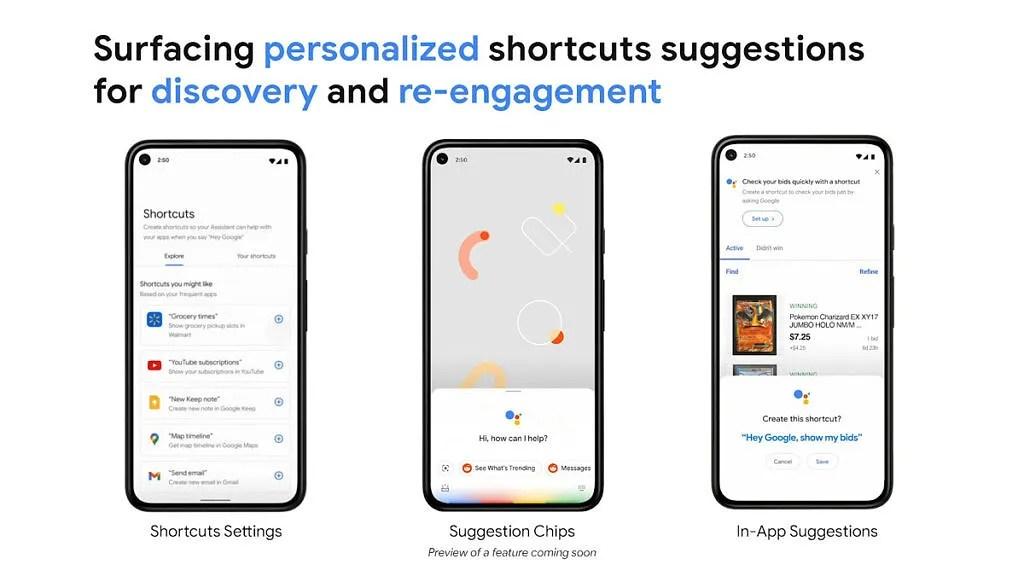Sugerencias de atajos en la aplicación