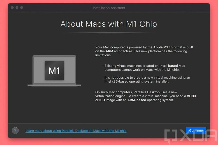 Parallels opening screen with information about M1