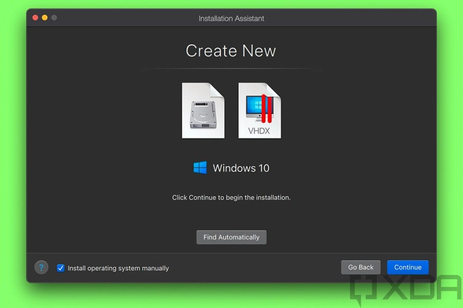 Dialog box to create a new VM