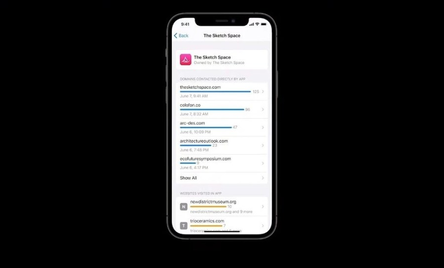 iOS sceenshot with privacy report