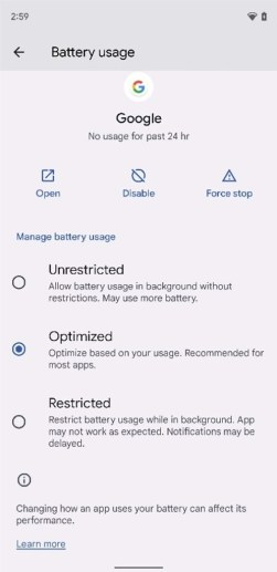 Battery optimization settings in Android 12 Beta 2