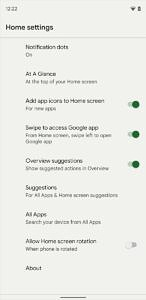 AllApps settings page in Pixel Launcher settings