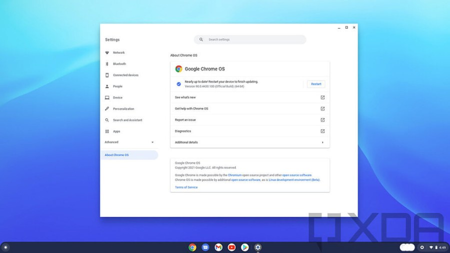 Google Chrome OS Settings showing device ready to restart to update