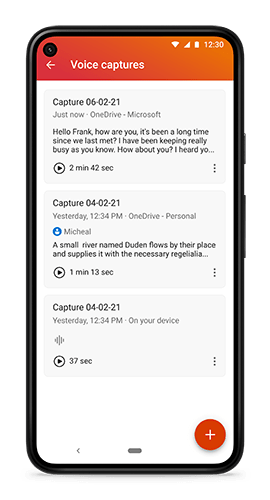 Saved voice recordings in Microsoft Office for Android
