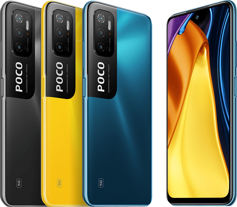 POCO M3 Pro 5G in three colors: Power Black, POCO Yellow and Cool Blue