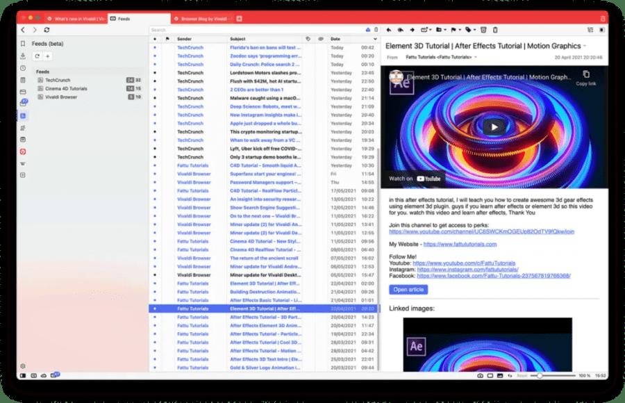 Main screen of Vivaldi Feed Reader