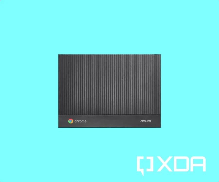 ASUS fanless Chromebox on light blue background