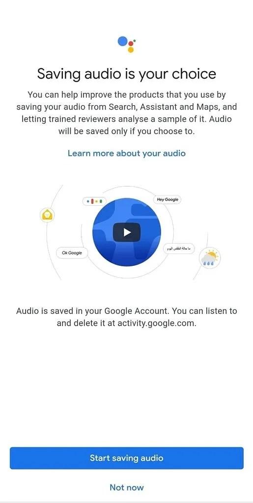 Google Assistant - Saving Audio