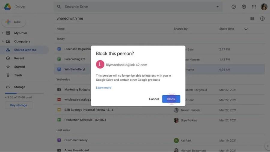 Blocking a user on Google Drive