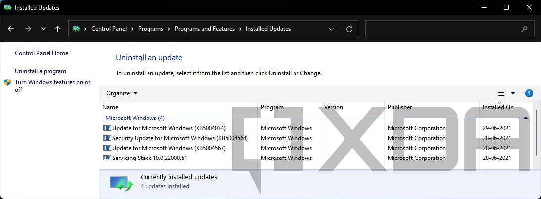 Windows 11 Control Panel Installed Updates