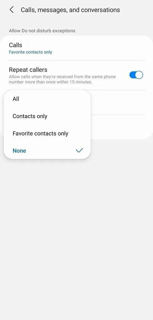 Samsung Do Not Disturb - Caller exceptions