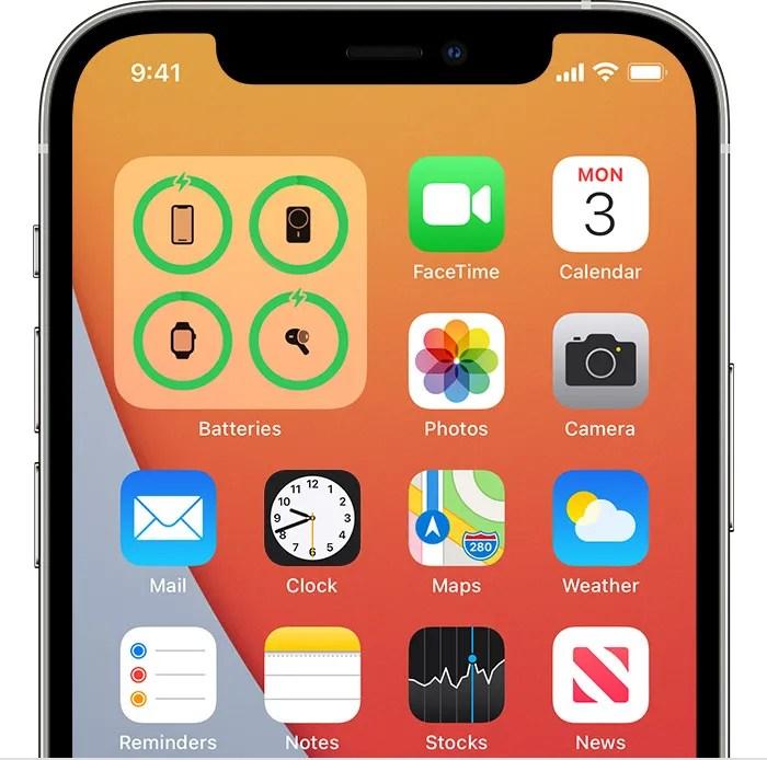 Charging widget on home screen