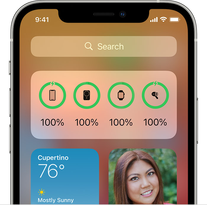 Charging widget on Today View screen