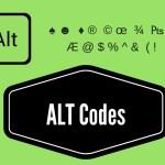 ALT Codes Or Shortcut