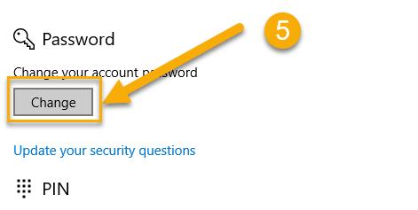 Change Password Windows 10