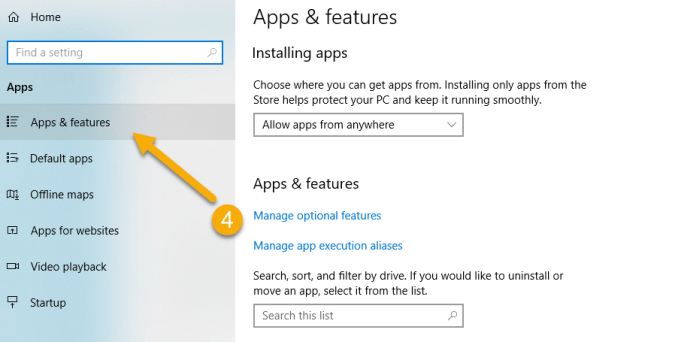 How To Uninstall Apps on Windows 10 - Step 4 Apps & features