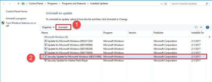 Select Uninstall to remove the update- Blue Screen