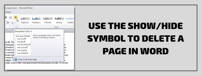 Use the ShowHide Symbol To Delete A Page In Word