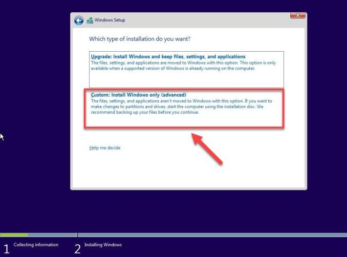 Custom Install Windows only (advanced)- Blue Screen Windows 10