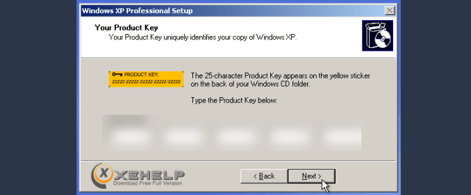 windows xp sp3 serial key
