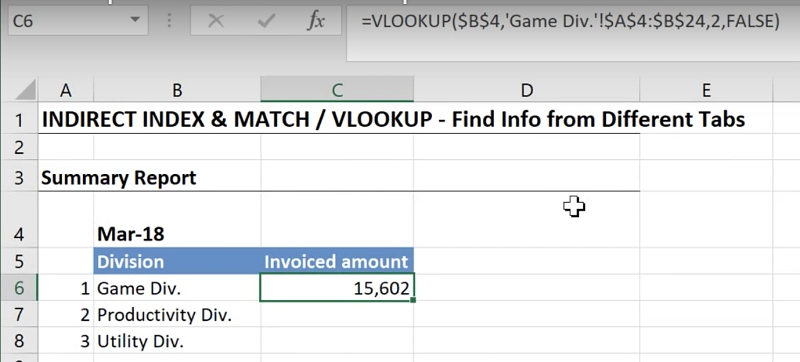 Easy Way To Lookup Values Across Multiple Worksheets In