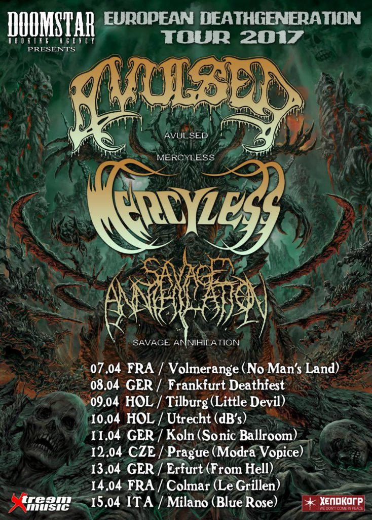 Avulsed, Mercyless & Savage Annihilation European Deathgeneration Tour 2017