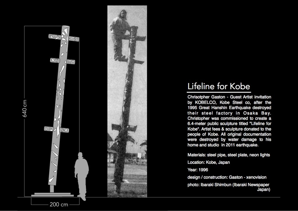 Lifeline for Kobe - Guest Artist invitation by KOBELCO, Kobe Steel company after the 1995 Great Hanshin Earthquake destroyed their steel factory in Osaka Bay. Commissioned to create a 6.4-meter public. Artist fees & sculpture donated to the people of Kobe, Japan
