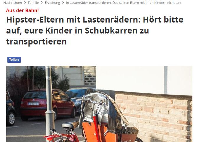 Screenshot eines Focus-Artikels über Kinder im Lastenrad