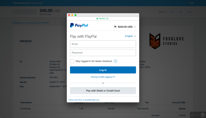 Improved PayPal integration with fees support   Xero Blog paypal express checkout on online invoice